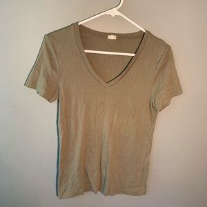 J. Crew Factory V-Neck T-Shirt Olive Green